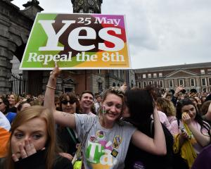 A Yes voter breaks down in tears as the result of the Irish referendum on the eighth amendment,...