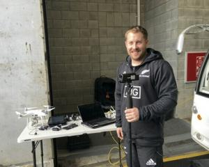 Hayden Chapman at Forsyth Barr Stadium with some of the gear he uses in his job with the All...