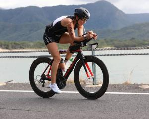 Lucy Strack on the cycle leg of Ironman Cairns in Australia last week. Photo: Supplied