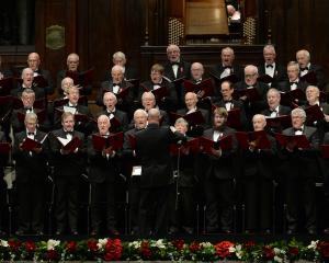 Musical director Richard Madden conducts the Royal Dunedin Male Choir at a concert in the Dunedin...