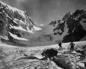 In the previously unexplored country in the heart of the Southern Alps: the Maud Glacier, with...