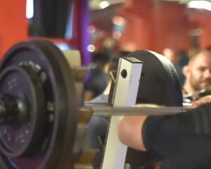 Sam Cane lifts some weights at the Les Mills gym in Dunedin yesterday. PHOTO: GREGOR RICHARDSON