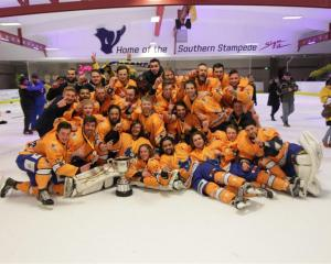 Southern Stampede players celebrate after the National Hockey League title in Queenstown on...