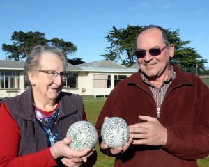 Tainui Bowling Club treasurer Jean Shelton (83) and Tainui Sports Society president Jack Gibbs ...
