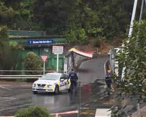 Cordoned scene at McLarens Falls bridge. Photo: NZ Herald