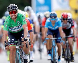 Peter Sagan crosses to win Stage 5 of this year's Tour de France, 204.5km from Lorient to Quimper...