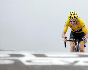 Geraint Thomas finishes Stage 17 of the Tour de France, from Bagneres-de-Luchon to Saint-Lary...