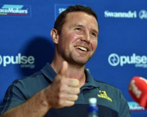 Highlanders coach Aaron Mauger announces the Highlanders 2018 squad yesterday. Photo: Peter McIntosh