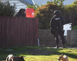 Armed offenders squad members guard an Ocean Grove property in Dunedin yesterday. PHOTO: STEPHEN...