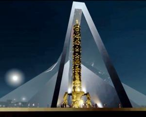 A still image from an Animation Research video of a version of a proposed statue for Auckland....