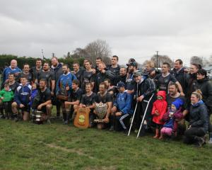 Wyndham Rugby Club celebrates its win over Midlands Rugby Club at Wyndham in the Division 1...