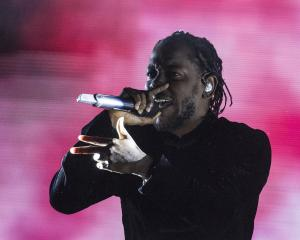 Kendrick Lamar on stage at the Coachella Valley Music and Arts Festival in Indio, California in...