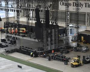 The stage set up for the Kendrick Lamar concert in Dunedin tonight. PHOTO: GREGOR RICHARDSON