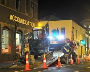 Workers begin construction on Dunedin's bus hub in Great King St yesterday. Photo: Christine O...