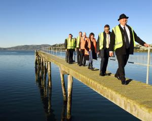 Regional Economic Development Minister Shane Jones leads a tour of Steamer Basin yesterday,...