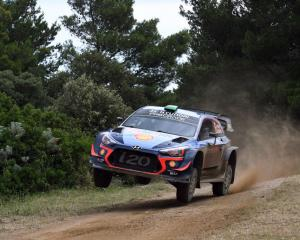 Hayden Paddon during his fourth-placed finish at Rally Finland. Photo: Getty Images