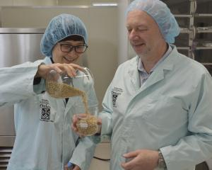 University of Otago food science department head Indrawati Oey and Marc Hendrickx, the inaugural...