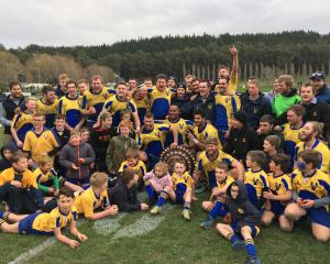 Valley rugby players and supporters celebrate their win over Kurow in the Citizens Shield final...
