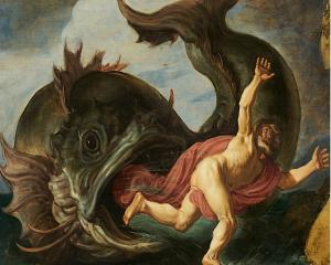 Jonah and the Whale, an oil on oak by Pieter Lastman (1583-1633), at present in the Museum...