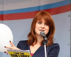 Maria Butina delivers a speech during a rally to demand the expanding of rights of Russian...