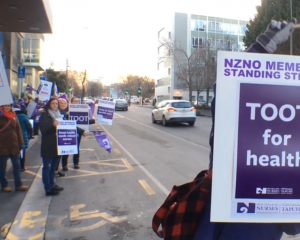 NZNO members at the picket line outside the clinical services building of Dunedin Hospital. Screengrab: The South Today