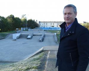 Waitaki Mayor Gary Kircher at the Oamaru skate park, where at least one security camera that can...