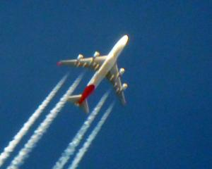 A close-up of the long-haul Qantas flight as it passed overhead on its way to Sydney. PHOTO:...