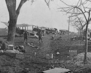 British aeroplanes by the roadside during the German offensive on the British front - ready to...
