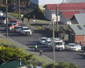 Cars queue behind a police cordon in Tomahawk about midday. Photo: Stephen Jaquiery