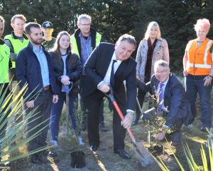 Forestry and Regional Development Minister Shane Jones (with shovel) and Minister for the...