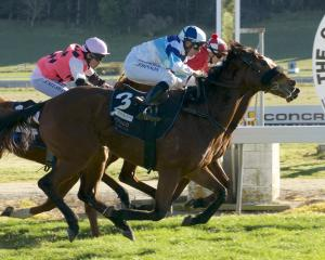 Somethings Burning and Chris Johnson (outer) pip Saber and Jillian Morris on the post to win the...