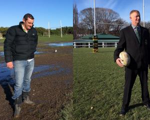 Saddle Hill Community Board chairman Scott Weatherall (left) at Brighton Domain last week. Green Island Rugby Football Club president Craig Anderson at Miller Par. Photos: Shawn McAvinue