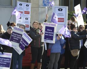 Striking nurses and supporters outside Dunedin Hospital in Cumberland St last week. PHOTO: GERARD...