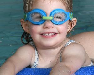 Samantha Ford (2) is all smiles as she tries out the Dunedin City Council's new Just Swim...