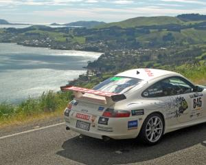 Targa Rally on Highcliff Rd, Otago Peninsiula, in 2014. Photo: John Fridd