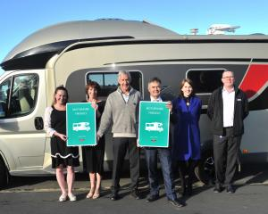 Celebrating Mosgiel being awarded ''motorhome-friendly'' status last week are (from left) Mosgiel...
