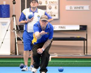 Duane White (Forbury Park) delivers a bowl on his way to victory in the Dunedin regional final of...