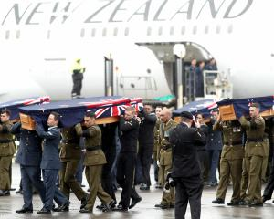 The remains of New Zealand Defence Force personnel repatriated from Malaysia and Singapore arrive...