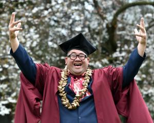 University of Otago PhD graduand Michael Ligaliga (39) on campus. Photo: Peter McIntosh