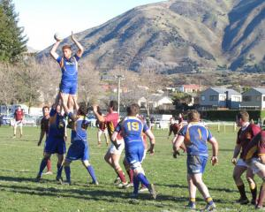 Otago Country flanker Josh Brown wins lineout ball against Southland Country in Wanaka on...