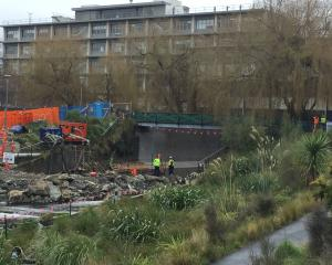 Police have secured the scene where two WW2 era mortar shells have been found. Photo: Gregor...