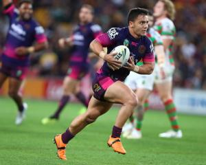 Kodi Nikorima carries the ball for the Brisbane Broncos against the South Sydney Rabbitohs last...
