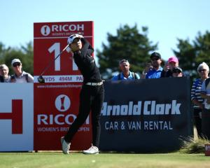 Lydia Ko tees off at the 11th hole on the first day of the British Open. Photo: Getty Images