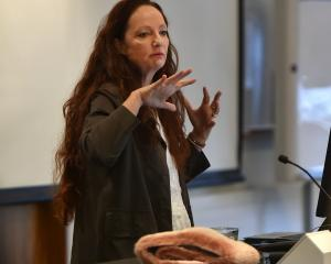 Film-maker Pietra Brettkelly gives a master class at the Otago Polytechnic yesterday. Brettkelly...