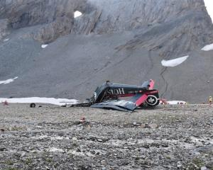 A general view of the accident site of a Junkers Ju-52 airplane near Flims. Photo: Kantonspolizei...
