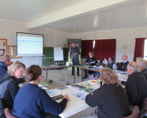 Otago Regional Council's Bruce Monaghan, of Alexandra, takes farmers attending the Beef + Lamb...