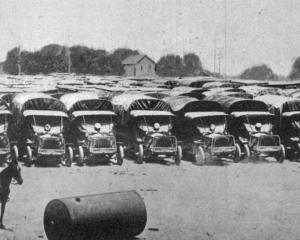 Hundreds of trucks lined up at United States military Camp Holabird, in Maryland. - Otago Witness...