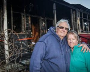 Bruce Buchanan and Jocelyn Buchanan, at their property destroyed by fire in Waipawa. Photo: NZME