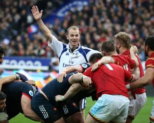 Wayne Barnes referees a Six Nations game between Wales and France earlier this year. Photo: Getty...