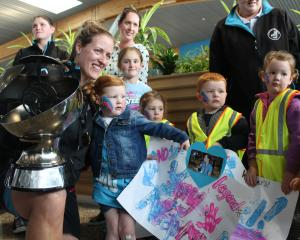 Southern Steel captain Wendy Frew is welcomed home to Invercargill by daughter Indie and Indie's...